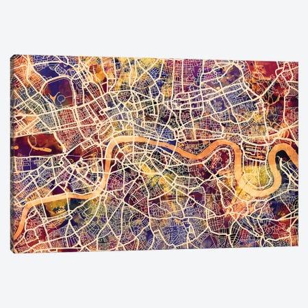 London England Street Map I Canvas Print #MTO1724} by Michael Tompsett Canvas Wall Art
