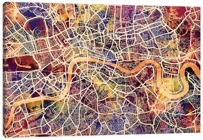 London England Street Map I Canvas Art Print