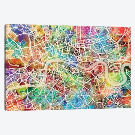London England Street Map III Canvas Print #MTO1725} by Michael Tompsett Canvas Wall Art