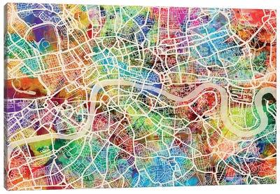 London England Street Map III Canvas Art Print