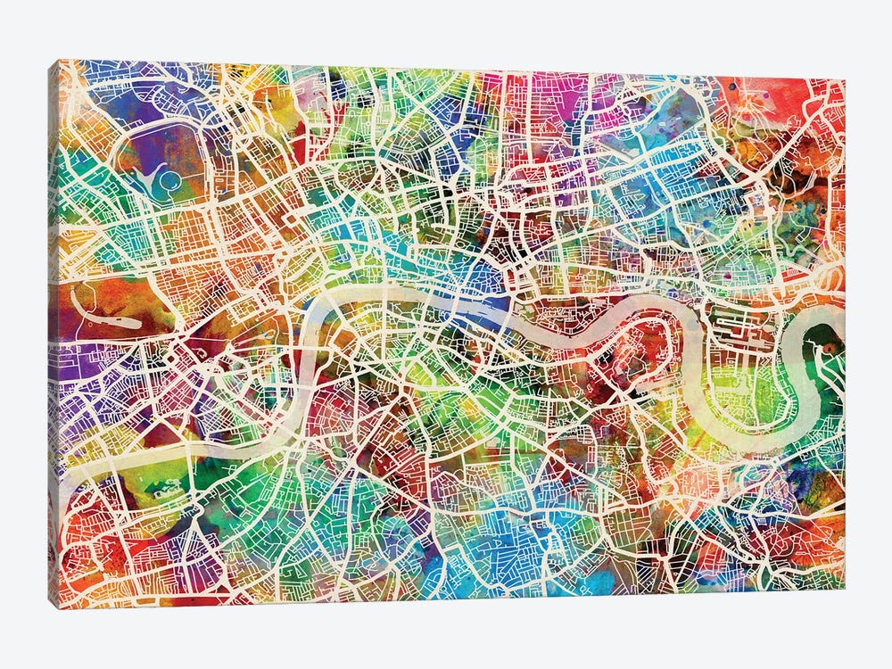 London England Street Map III 1-piece Canvas Print