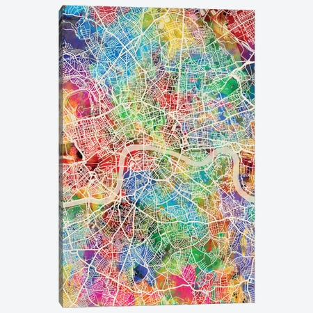 London England Street Map IV Canvas Print #MTO1726} by Michael Tompsett Canvas Wall Art
