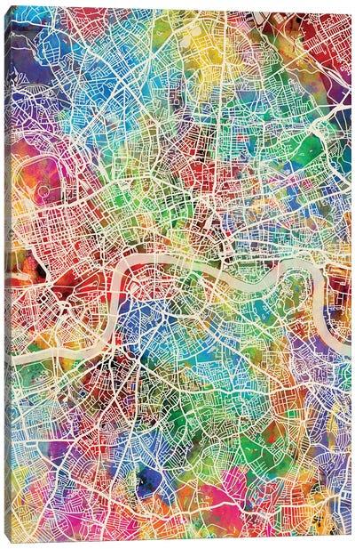 London England Street Map IV Canvas Art Print