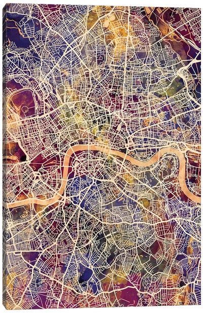 London England Street Map II Canvas Art Print
