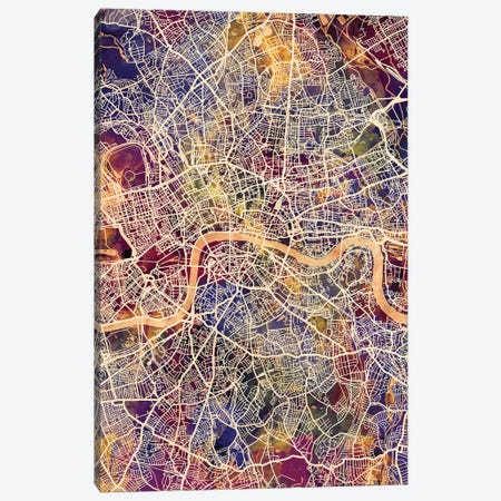 London England Street Map II Canvas Print #MTO1727} by Michael Tompsett Canvas Wall Art