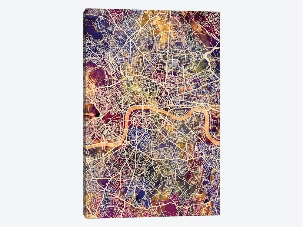 London England Street Map II by Michael Tompsett 1-piece Canvas Art Print