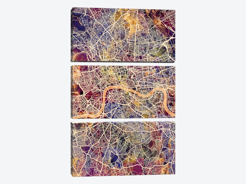 London England Street Map II by Michael Tompsett 3-piece Canvas Art Print