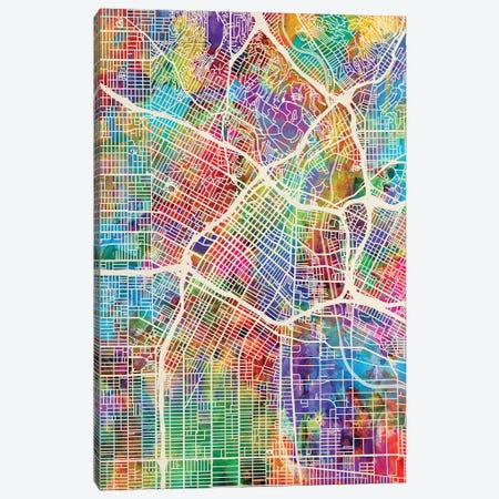 Los Angeles City Street Map I Canvas Print #MTO1728} by Michael Tompsett Art Print