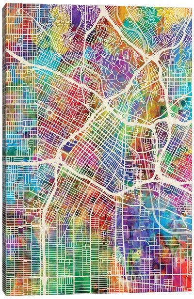 Los Angeles City Street Map I Canvas Art Print