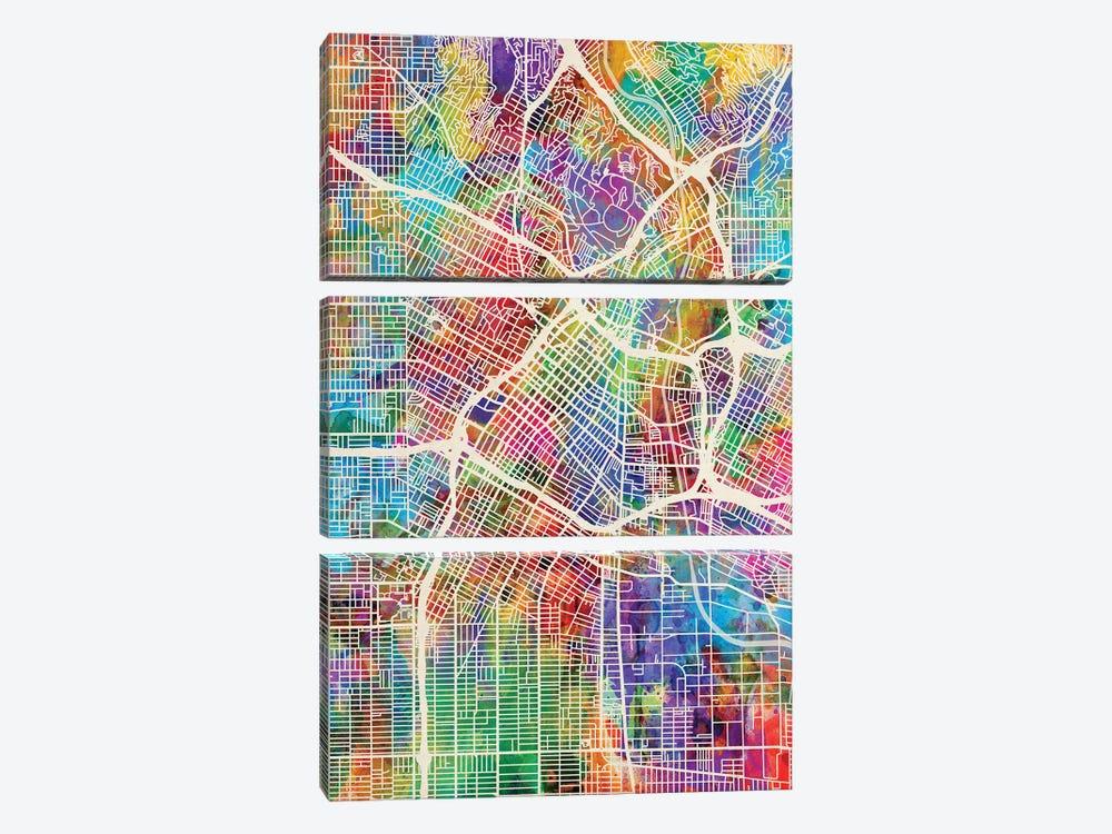 Los Angeles City Street Map I by Michael Tompsett 3-piece Canvas Art