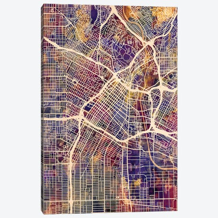 Los Angeles City Street Map II Canvas Print #MTO1729} by Michael Tompsett Canvas Art Print