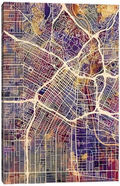 Los Angeles City Street Map II Canvas Art Print