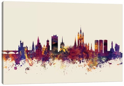 Skyline Series: Aberdeen, Scotland, United Kingdom On Beige Canvas Art Print