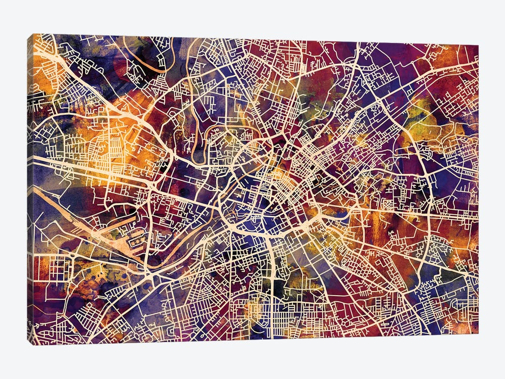 Manchester England Street Map I by Michael Tompsett 1-piece Canvas Print