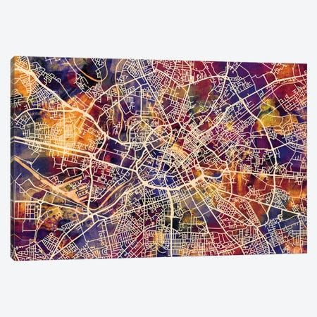 Manchester England Street Map I Canvas Print #MTO1730} by Michael Tompsett Canvas Wall Art