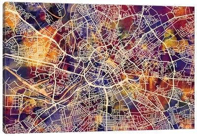 Manchester England Street Map I Canvas Art Print