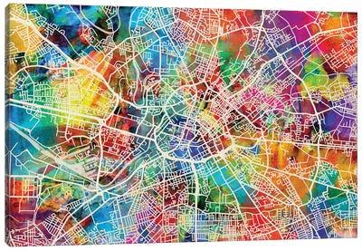 Manchester England Street Map II Canvas Art Print