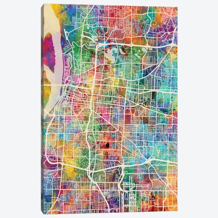Memphis Tennessee City Map I 3-Piece Canvas #MTO1732} by Michael Tompsett Canvas Wall Art