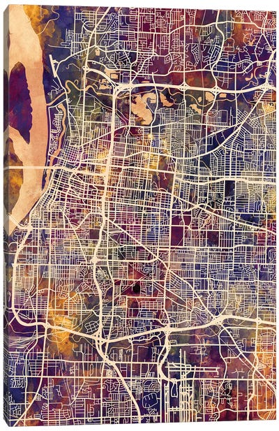 Memphis Tennessee City Map II Canvas Art Print