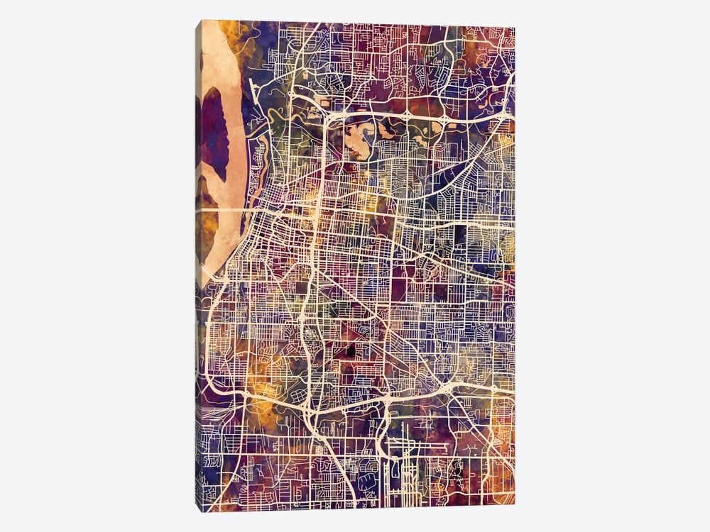 Memphis Tennessee City Map II Canvas Art Print | Michael Tompsett | iCanvas
