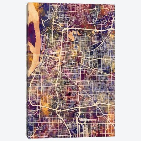 Memphis Tennessee City Map II 3-Piece Canvas #MTO1733} by Michael Tompsett Canvas Wall Art