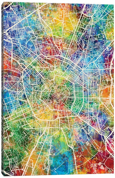 Milan Italy City Map Canvas Art Print
