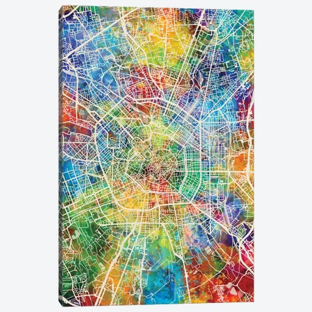 Milan Italy City Map Canvas Print #MTO1734} by Michael Tompsett Canvas Print