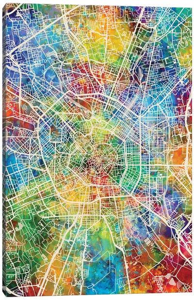 Milan Italy City Map Canvas Art Print