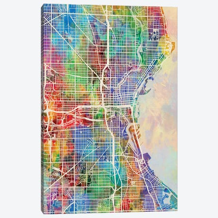Milwaukee Wisconsin City Map I Canvas Print #MTO1735} by Michael Tompsett Canvas Print