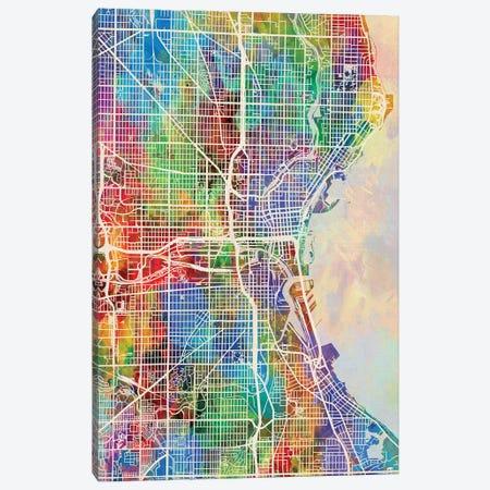 Milwaukee Wisconsin City Map I Canvas Print #MTO1735} by Michael Tompsett Canvas Print