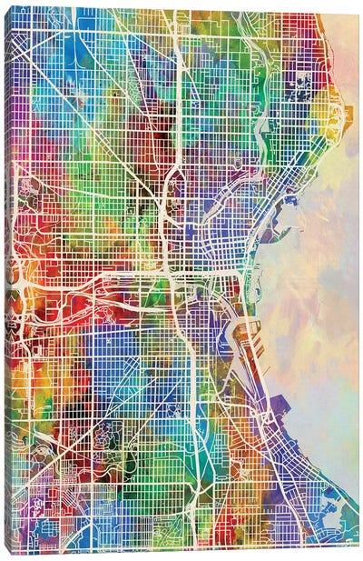 Milwaukee Wisconsin City Map I Canvas Art Print