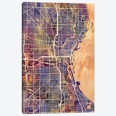 Milwaukee Wisconsin City Map II Canvas Print #MTO1736} by Michael Tompsett Art Print