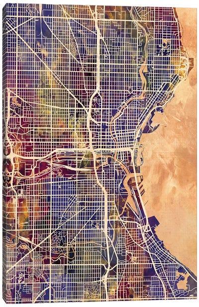 Milwaukee Wisconsin City Map II Canvas Art Print