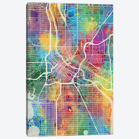 Minneapolis Minnesota City Map I 3-Piece Canvas #MTO1737} by Michael Tompsett Art Print