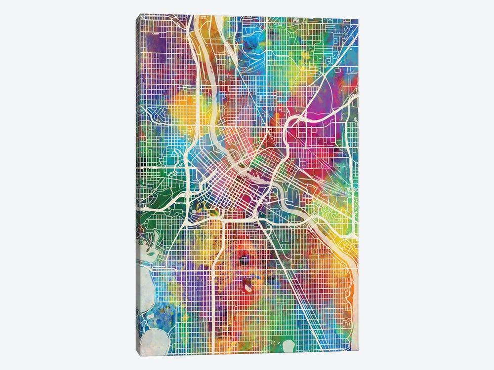 Minneapolis Minnesota City Map I by Michael Tompsett 1-piece Canvas Wall Art