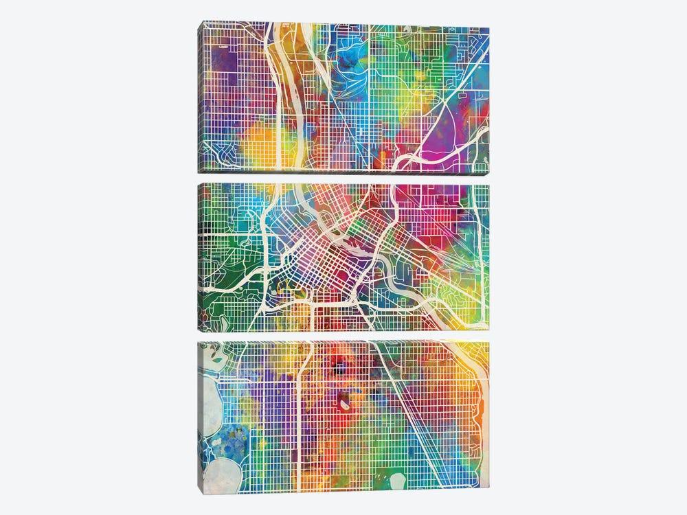 Minneapolis Minnesota City Map I by Michael Tompsett 3-piece Canvas Art