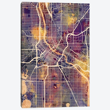 Minneapolis Minnesota City Map II 3-Piece Canvas #MTO1738} by Michael Tompsett Canvas Wall Art