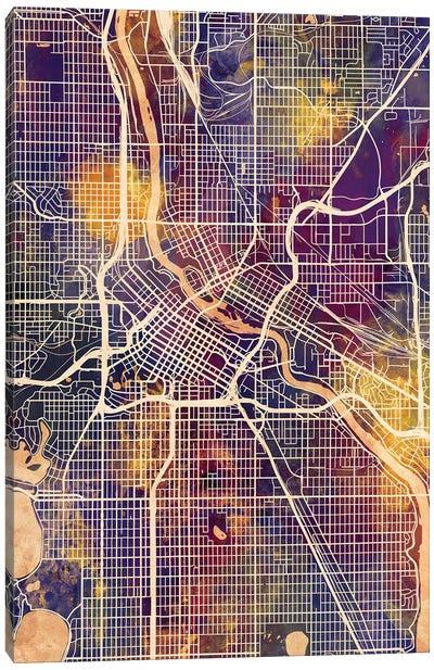 Minneapolis Minnesota City Map II Canvas Art Print