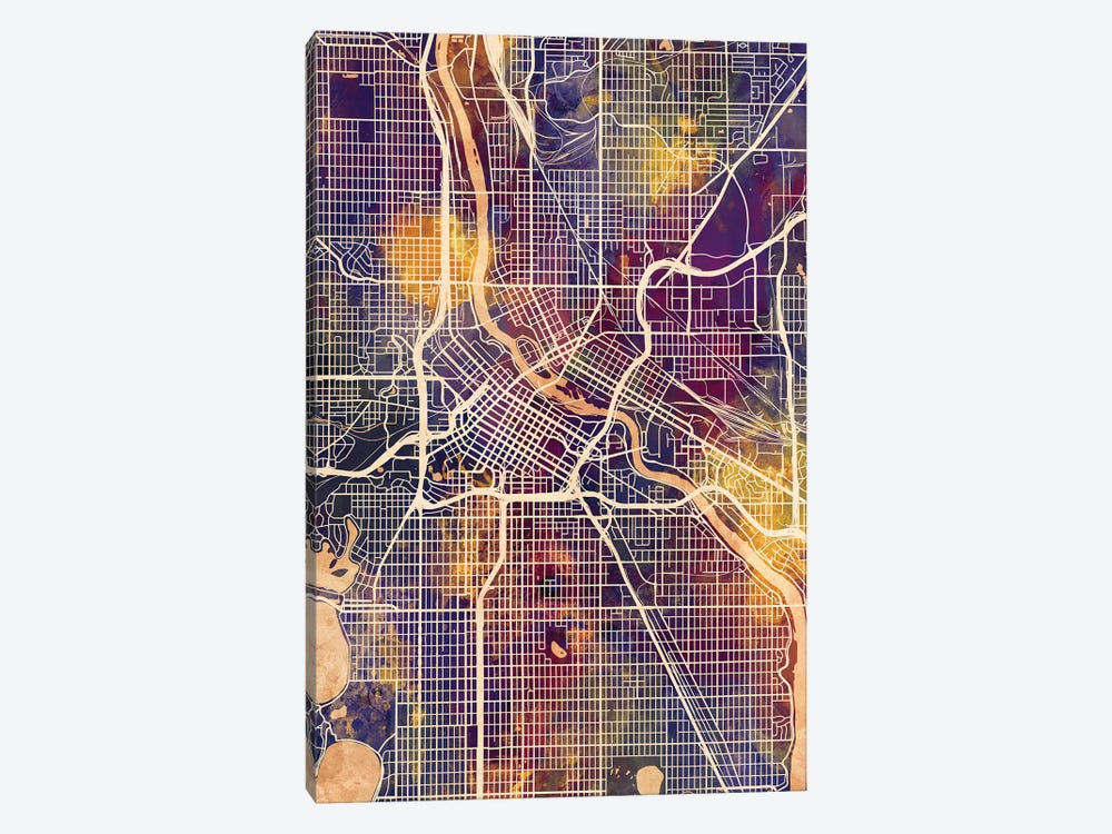 Minneapolis Minnesota City Map II by Michael Tompsett 1-piece Art Print
