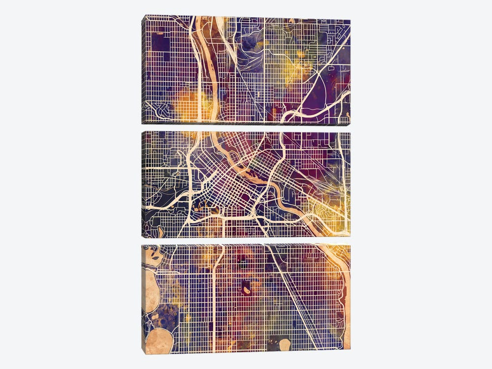 Minneapolis Minnesota City Map II by Michael Tompsett 3-piece Canvas Print
