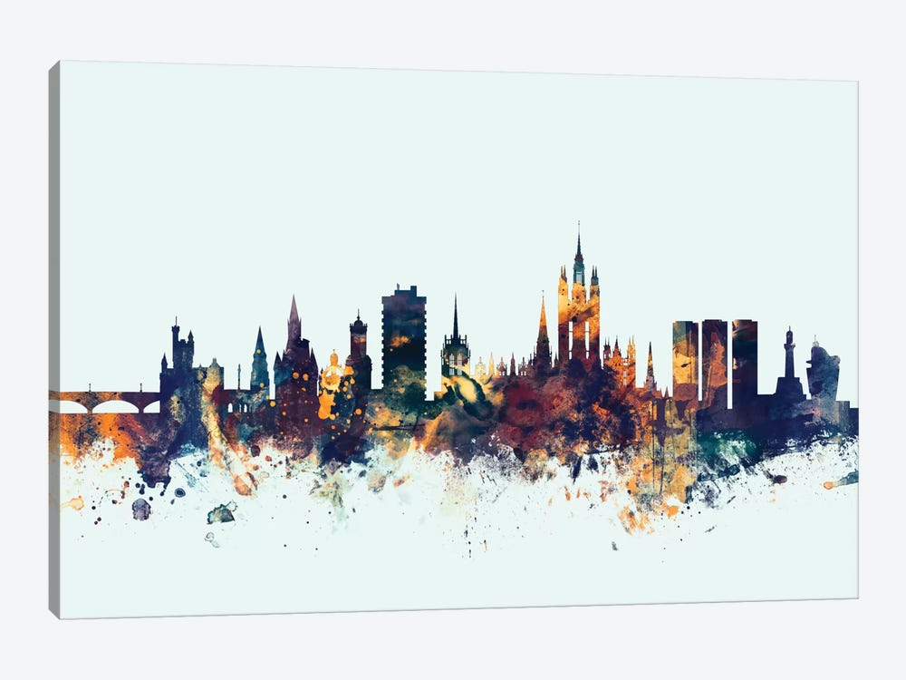 Skyline Series: Aberdeen, Scotland, United Kingdom On Blue 1-piece Canvas Art