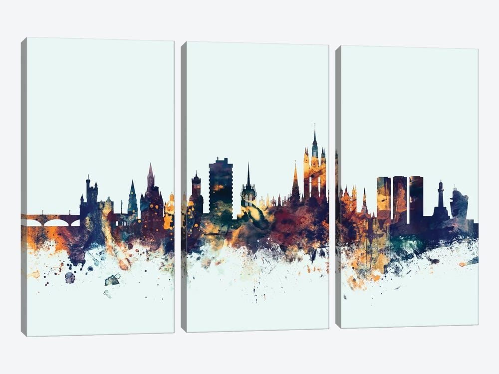 Skyline Series: Aberdeen, Scotland, United Kingdom On Blue 3-piece Canvas Wall Art