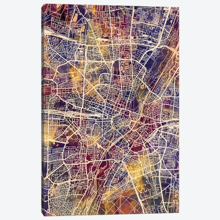 Munich Germany City Map II 3-Piece Canvas #MTO1740} by Michael Tompsett Canvas Print