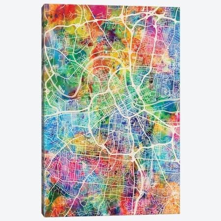 Nashville Tennessee City Map I Canvas Print #MTO1741} by Michael Tompsett Canvas Print