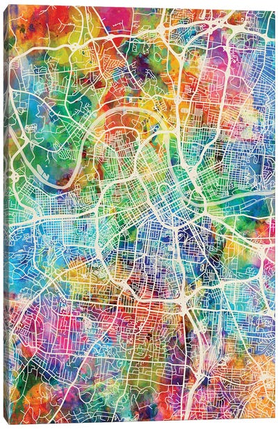 Nashville Tennessee City Map I Canvas Art Print