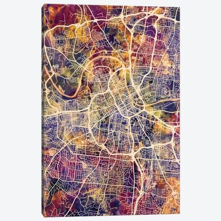 Nashville Tennessee City Map II Canvas Print #MTO1742} by Michael Tompsett Art Print