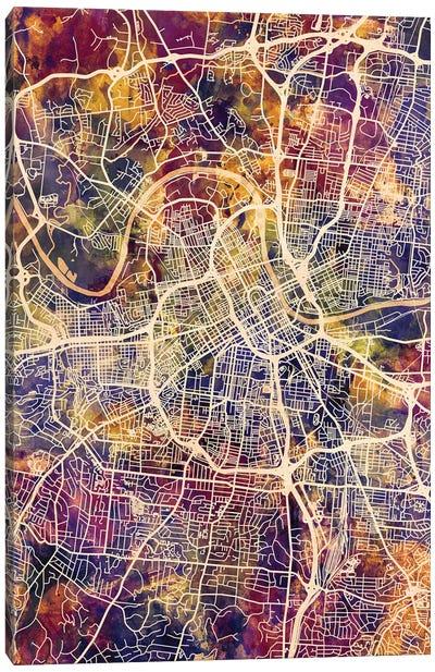 Nashville Tennessee City Map II Canvas Art Print