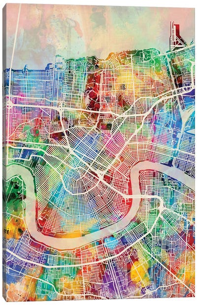New Orleans Street Map I Canvas Art Print
