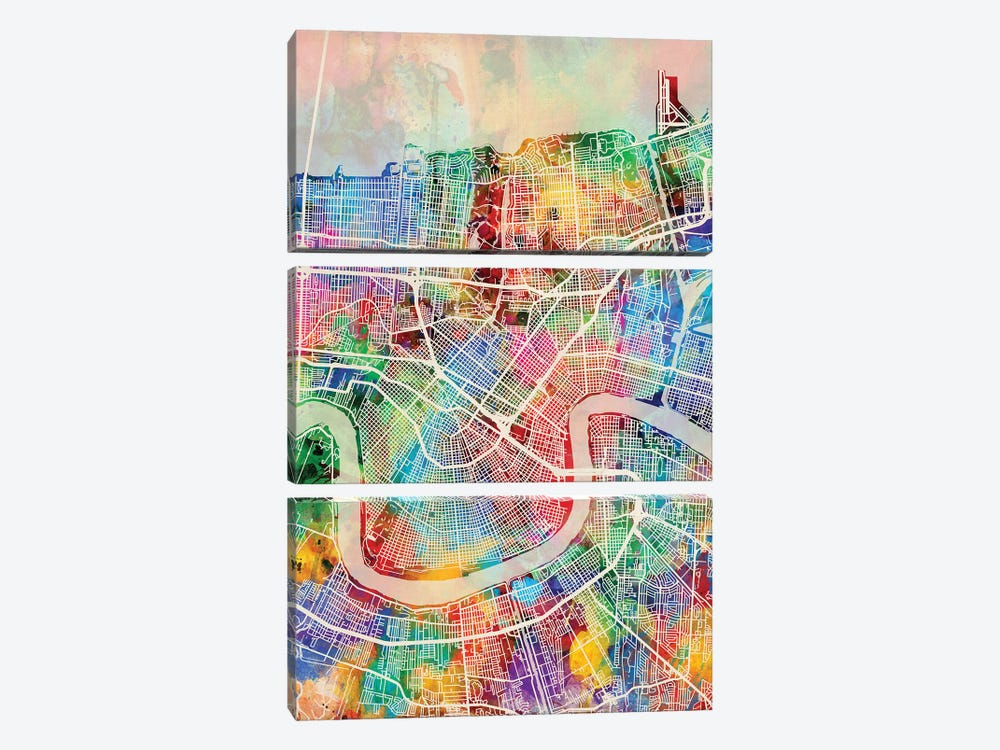 New Orleans Street Map I by Michael Tompsett 3-piece Canvas Art Print