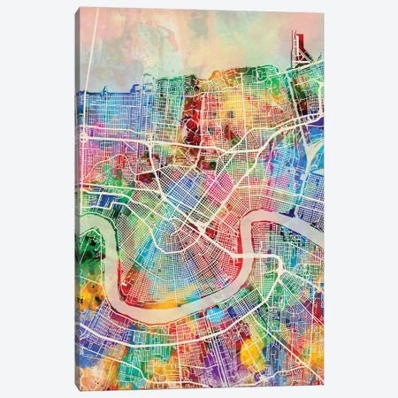 New Orleans Street Map I 3-Piece Canvas #MTO1743} by Michael Tompsett Canvas Art Print